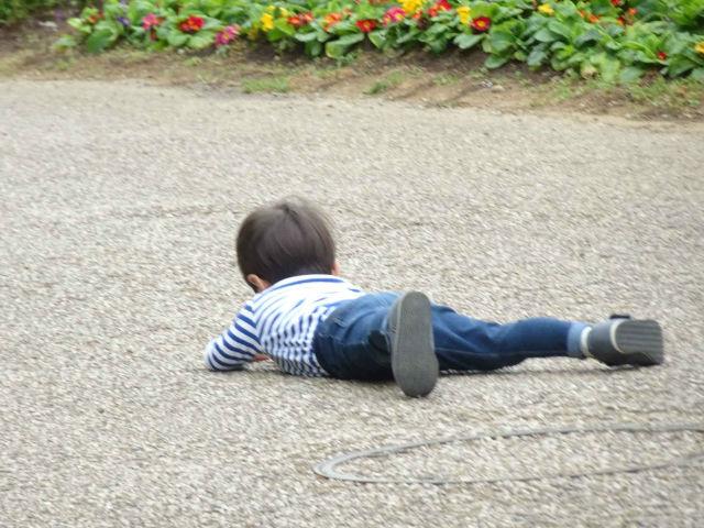 道端で転ぶ子供